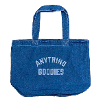 ANYTHING GOODIES <br>″ DENIM SHOPPING BAG″ <br>(WASHED × WHITE PRINT) <img class='new_mark_img2' src='//img.shop-pro.jp/img/new/icons6.gif' style='border:none;display:inline;margin:0px;padding:0px;width:auto;' />