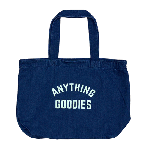 ANYTHING GOODIES <br>″ DENIM SHOPPING BAG″ <br>(NON WASH × PASTEL YELLOW PRINT)