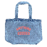 ANYTHING GOODIES <br>″ DENIM SHOPPING BAG″ <br>(CHEMICAL WASH × NEON ORANGE PRINT)