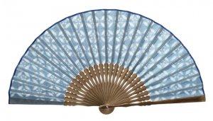透かし和紙の扇子 梅鉢 青