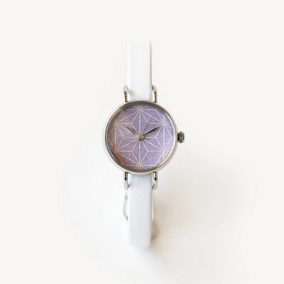 はなもっこ 箔紋シリーズ 藤紫に麻の葉 ステンレスケース/レディース