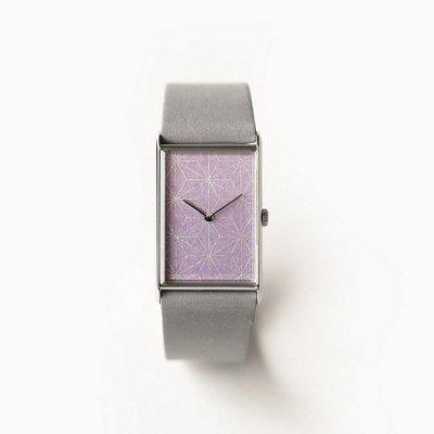 はなもっこ 箔紋シリーズ  藤紫に麻の葉 ステンレスケース/スクエア