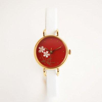 はなもっこ 蒔絵 赤漆に加賀桜(白貝)