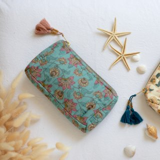 Travel Pouch Turquoise Flowers