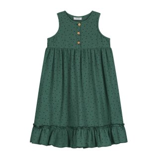 Moon polka dress juniper green 2Y-8Y