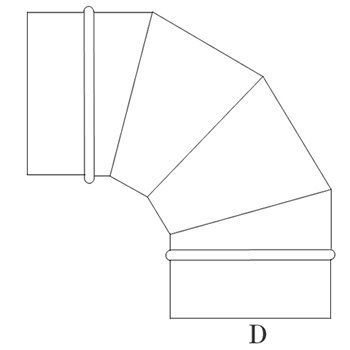ハゼエルボ90°225φ ガルバリウム イメージ2
