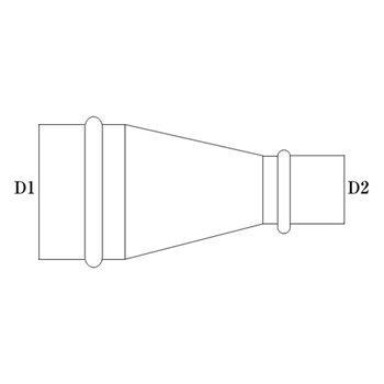 R管 150φ(D1)  125φ(D2) 亜鉛 イメージ2