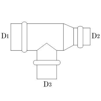 RT管 125φ(D1・D3) 100φ(D2) 亜鉛 イメージ2
