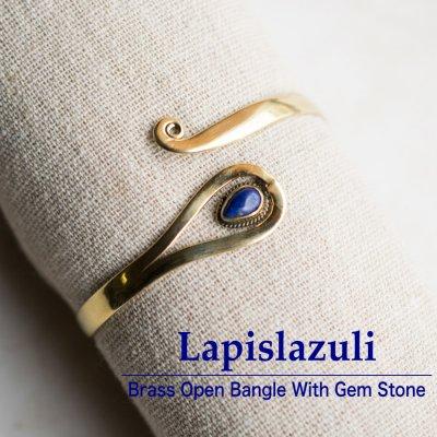 ラピスラズリ/天然石付きブラスバングル023