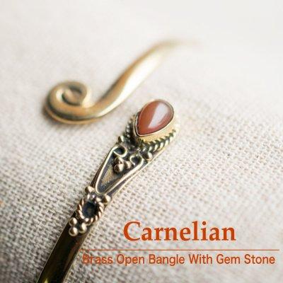 カーネリアン/天然石付きブラスバングル032