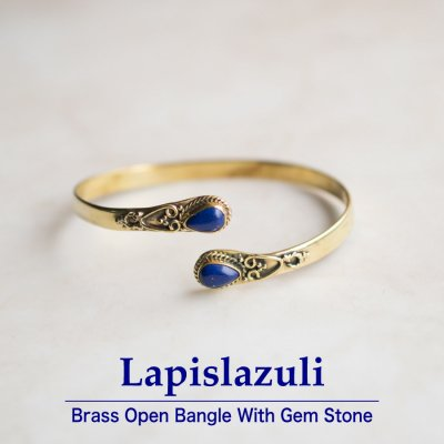 ラピスラズリ/天然石付きブラスバングル044