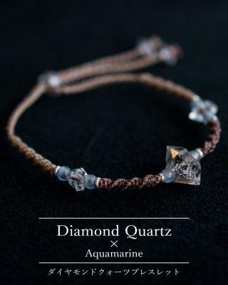 ダイヤモンドクォーツ+アクアマリン/ビーズ・ブレスレット