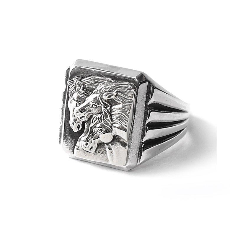PEANUTS & Co. #PHARAOHS HORSES RING - SQUARE(All Silver)