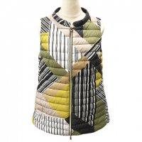 HERNO 【ヘルノ】 『Mondrian Topcoat』ジオメトリックストライプ・リバーシブルベスト (Lime)