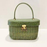 Capaf 【カパフ】 ハンドメイド・ラタン×レザー・楕円筒型バッグ (Verde)