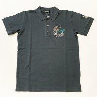 "HOMEWARD 【ホームワード】 『Polo Sem Garment Dye Wool Embroidery""Palm""』 パームツリー毛刺繍ポロシャツ (Used Navy)"
