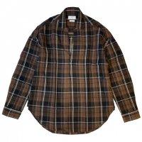 COLONY CLOTHING【コロニー・クロージング】リネン×コットンチェック・プルオーバーシャツ (Brown)