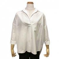 BARBA【バルバ】 コットンポプリン・スキッパーシャツ (White)
