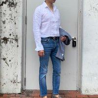 GUY ROVER 【ギ・ローバー】 ウォッシュドリネン・オープンカラーシャツ (White)