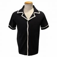 BAFY 【バフィ】 ハイゲージコットン・ショートスリーブ・ニットシャツ (Black)