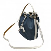 "Felisi 【フェリージ】 ""Hand Bag with strap"" ナイロン×ソフトキップレザー・巾着型バッグ (L.Blue/White)"