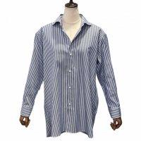 Agnelli & Sons 【アニエッリ・アンド・サンズ】 CANCLINI社製ダブルフェイスストライプ・オーバーサイズフィットシャツ (Blue×Brown)