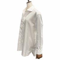 Agnelli & Sons 【アニエッリ・アンド・サンズ】 CANCLINI社製コットンカルゼ・刺繍入オーバーサイズフィットシャツ (White)