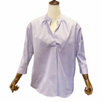 BARBA 【バルバ】 ヘアラインストライプ・3/4スリーブ・バンドカラースキッパーシャツ (Lavender Stripe)