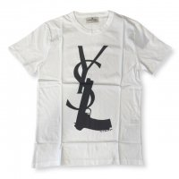 """AWESOME 【オーサム】 『This is Art not Fake』 """"YS🔫"""" プリント・TEEシャツ(Bianco-Stampa3)"""