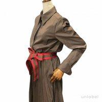 "unlabel 【アンレーベル】 ""makeba dress"" ウエストベルテッド・プリーツボトムドレス(Khaki)"