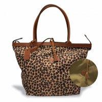 "Felisi 【フェリージ】 ""Reversible Tote Bag"" ナイロン×バケッタレザー・リバーシブル・トートバッグ (Leopard/Olive)"