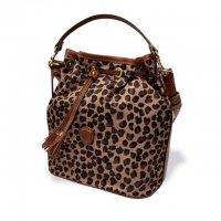 """Felisi 【フェリージ】 """"Hand Bag with Strap"""" ナイロン×バケッタレザー2WAY巾着型ハンドバッグ (Leopard)"""