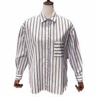 BARBA 【バルバ】 コットンポプリン・シャイニーストライプ2WAY(カシュクール)シャツ (White - Navy/Silver)