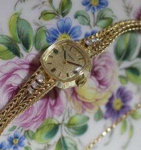 ロレックス レディースアンティーク腕時計 ダイアモンド ベルト一体型