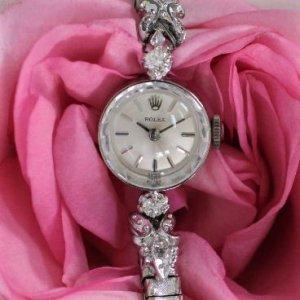 ロレックス ROLEX   2粒ダイヤ カットガラス レディース・アンティーク時計