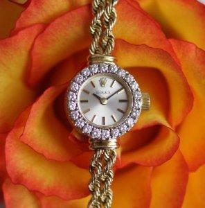 ROLEX ダイヤ取り巻き ベルト一体型 14金イエローゴールド時計