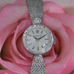 ロレックス ROLEX ホワイトゴールド 2粒ダイヤ レディースアンティーク時計