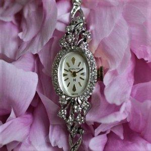 ハミルトン ホワイトとイエローゴールドのコンビ時計 アンティーク