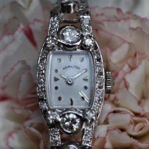 ハミルトン 2連ダイヤブレス時計 アンティーク