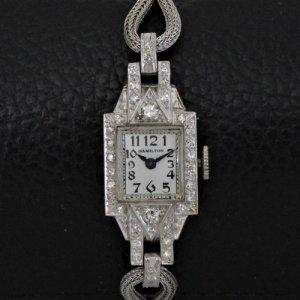 ハミルトン プラチナ時計 アールデコ レディースアンティーク
