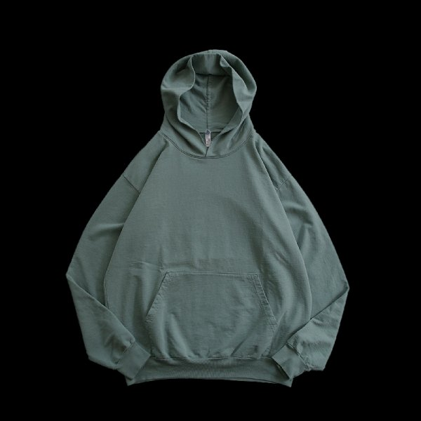 LOS ANGELES APPAREL | GARMENT DYE FRENCH TERRY PULLOVER HOODIE - A.Green