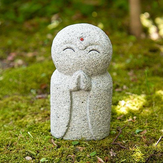 にっこり地蔵 (グレー)/白御影石