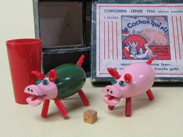 LE COCHON QUI RIT 古いフランス製 木のおもちゃ 笑う豚 箱付