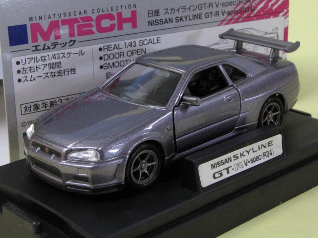 M TECH R34 SKYLINE GT-R V-spec スカイライン アスリートシルバー 1/43
