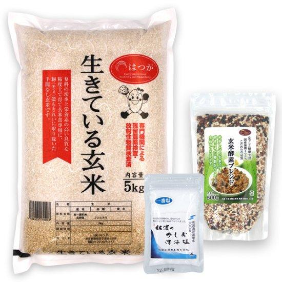 玄米酵素ごはんセットB(玄米酵素ブレンド500g + 天然塩50g + 生きている玄米5kg) ☆令和2年産☆