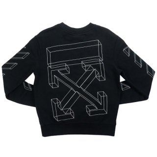 OFF WHITE 19AW ABSTRACT ARROWS SLIM CREWNECK クルーネックスウェット 黒【S】 【中古品-ほぼ新品】