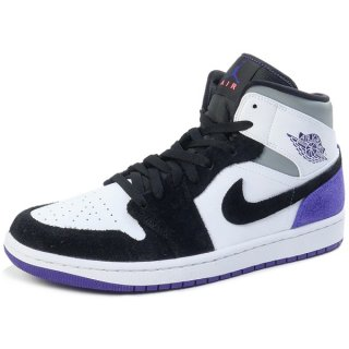 NIKE AIR JORDAN 1 MID SE WHITE COURT PURPLE BLACK 852542-105 スニーカー 黒紫 Size【28.0cm】 【新古品・未使用品】