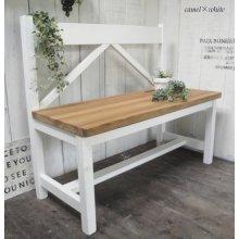 アンティーク風 無垢材のフレンチアンティーク風Aラインベンチ 背板垂直 W100cm BT-009