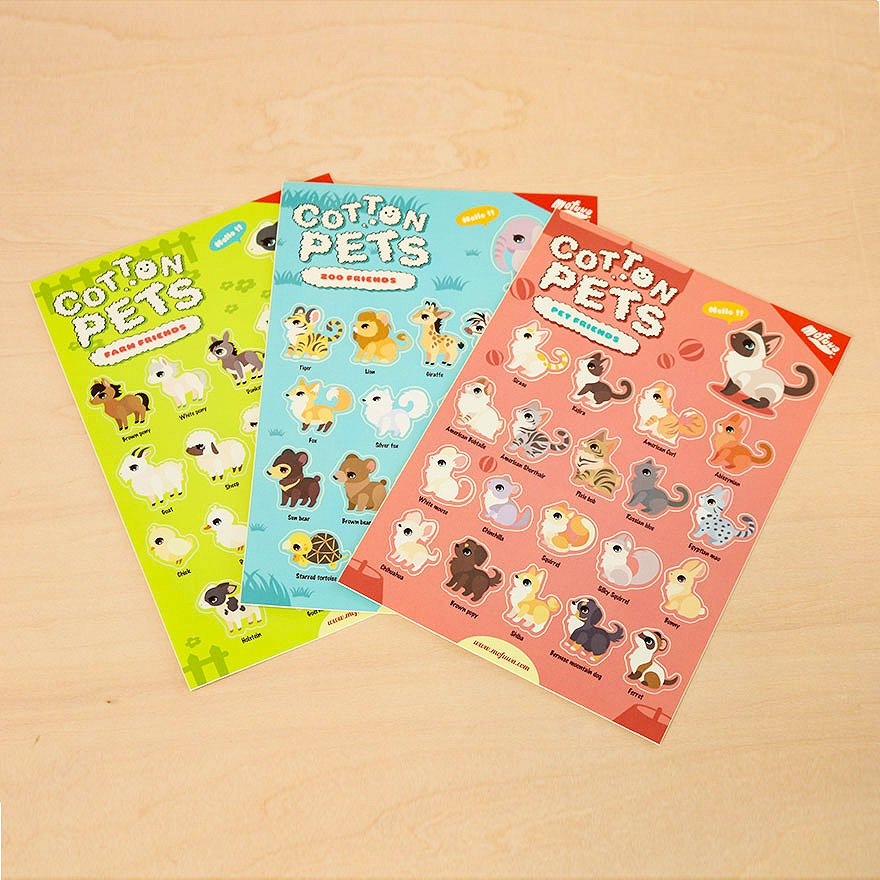 Cotton Pets Sticker Set<img class='new_mark_img2' src='https://img.shop-pro.jp/img/new/icons39.gif' style='border:none;display:inline;margin:0px;padding:0px;width:auto;' />