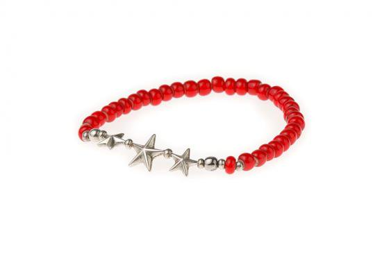 イメージ:SUNKU 39 STAR BEADS BRACELET WHITE HEARTS BEADS(RED/SILVER)(SK-139-RED)